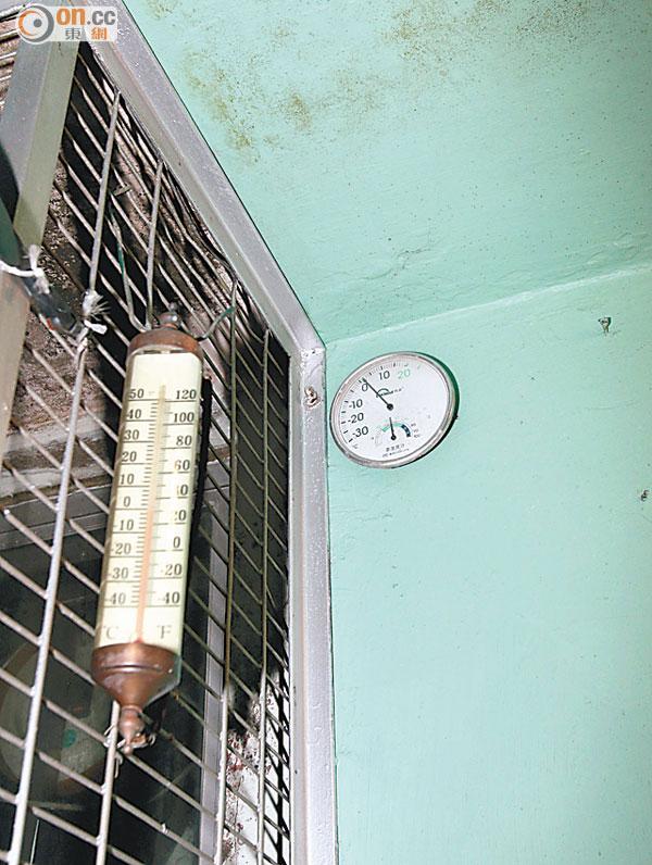 於大帽山放置的溫度計顯示,氣溫昨一度接近零度。(梁少恒攝)