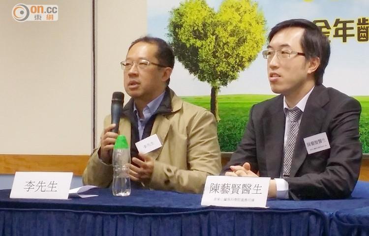 李先生(左)血管超齡20歲,認為可能與自己常休息不足及進食快餐有關。(戴碧怡攝)