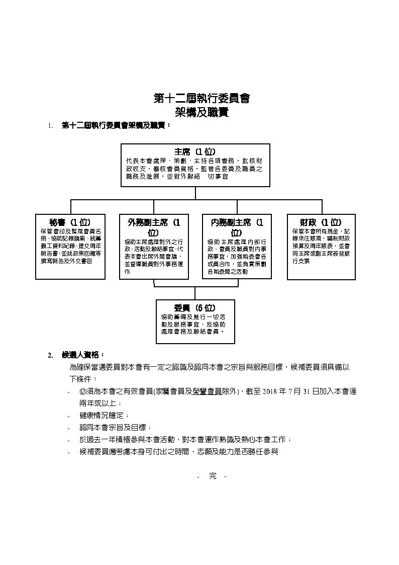 第十二屆執行委員會架構及職責及「候補委員」回條