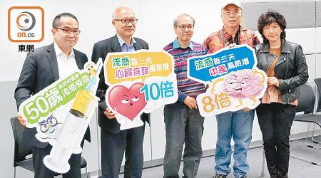 調查發現,超過一半受訪者不知道流感引致多種嚴重併發症。左起:蕭頌華、梅卓能、劉劍雄。(林祐權攝)