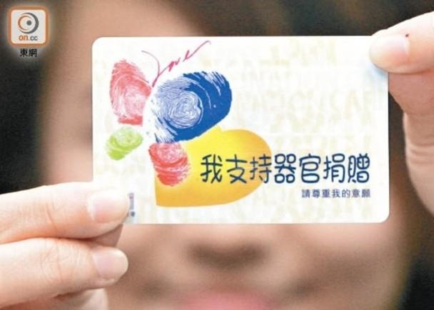 去年有約2萬人登記中央器官捐贈登記名冊。