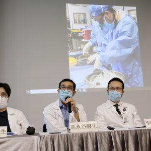 瑪麗心胸外科部門主管區永谷醫生(左二)期望,器官護養系統能為瑪麗額外多3至5宗心臟移植手術。(歐嘉樂攝)